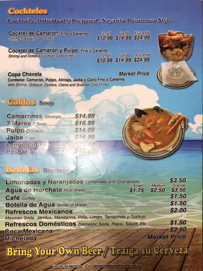 Mariscos Villareal menu - cockteles, caldos, bebidas
