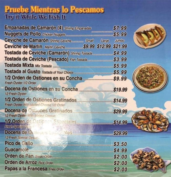 Mariscos Villareal menu - pruebe mientras lo pescamos
