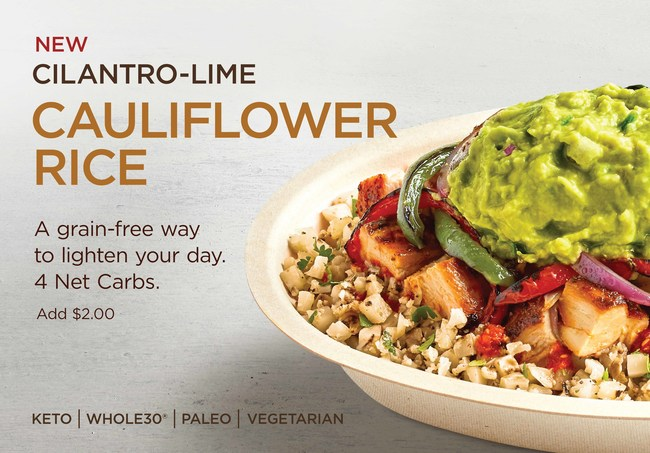 Chipotle Trials New Cilantro-Lime Cauliflower Rice