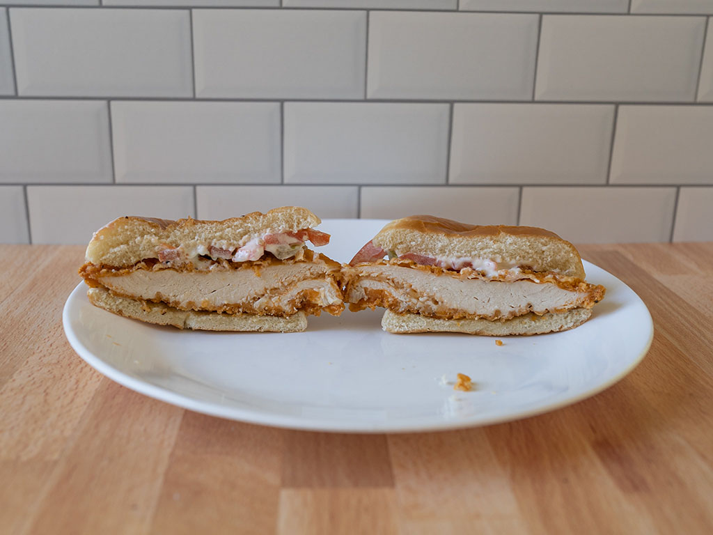 Wendy's Spicy Chicken Sandwich cross section