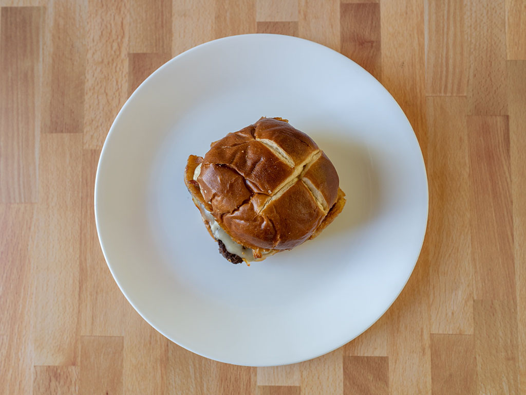 Wendy's Pretzel Bacon Pub Cheeseburger top down