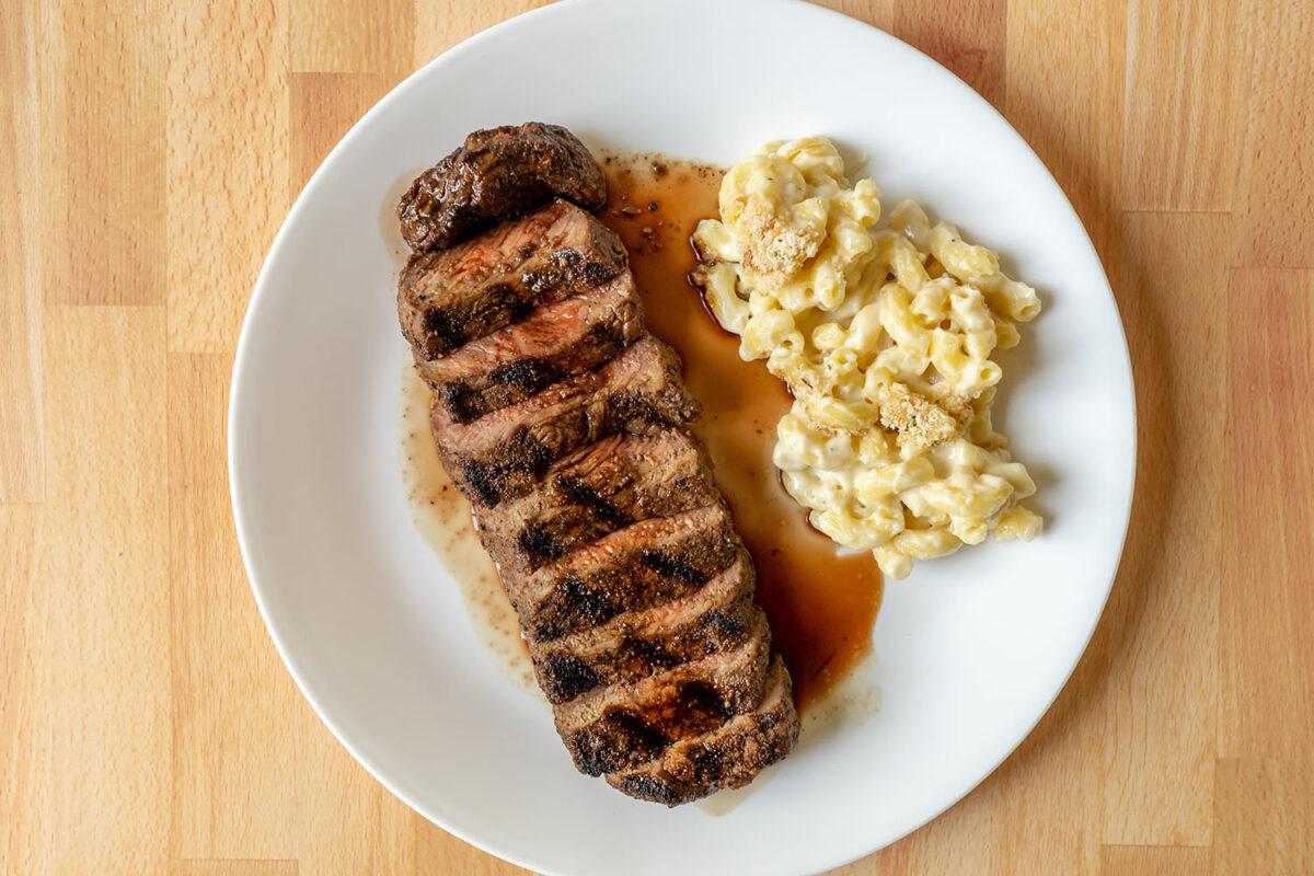 Generic steak with mac n cheese