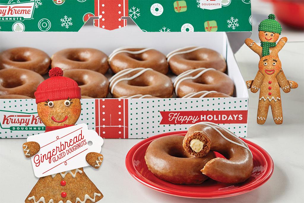 Krispy Kreme Gingerbread Glazed Doughnuts