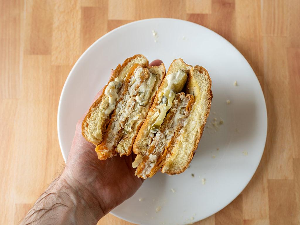 Popeyes Cajun Flounder Sandwich interior close up