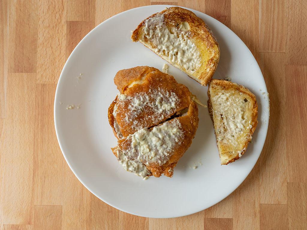 Popeyes Cajun Flounder Sandwich top down