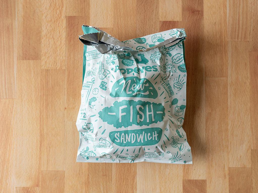 Popeyes Cajun Flounder Sandwich wrapper