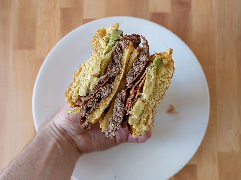 Avocado Bacon Burger close up