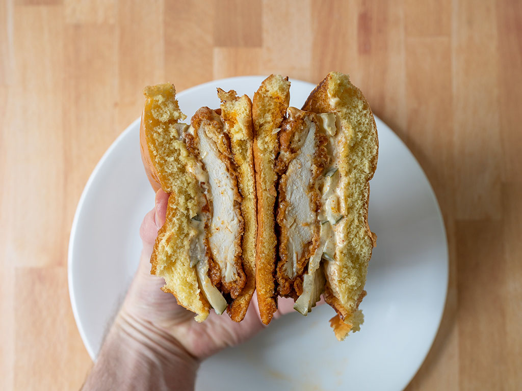 Spicy Hand-Breaded Chicken Sandwich 1 - close up interior