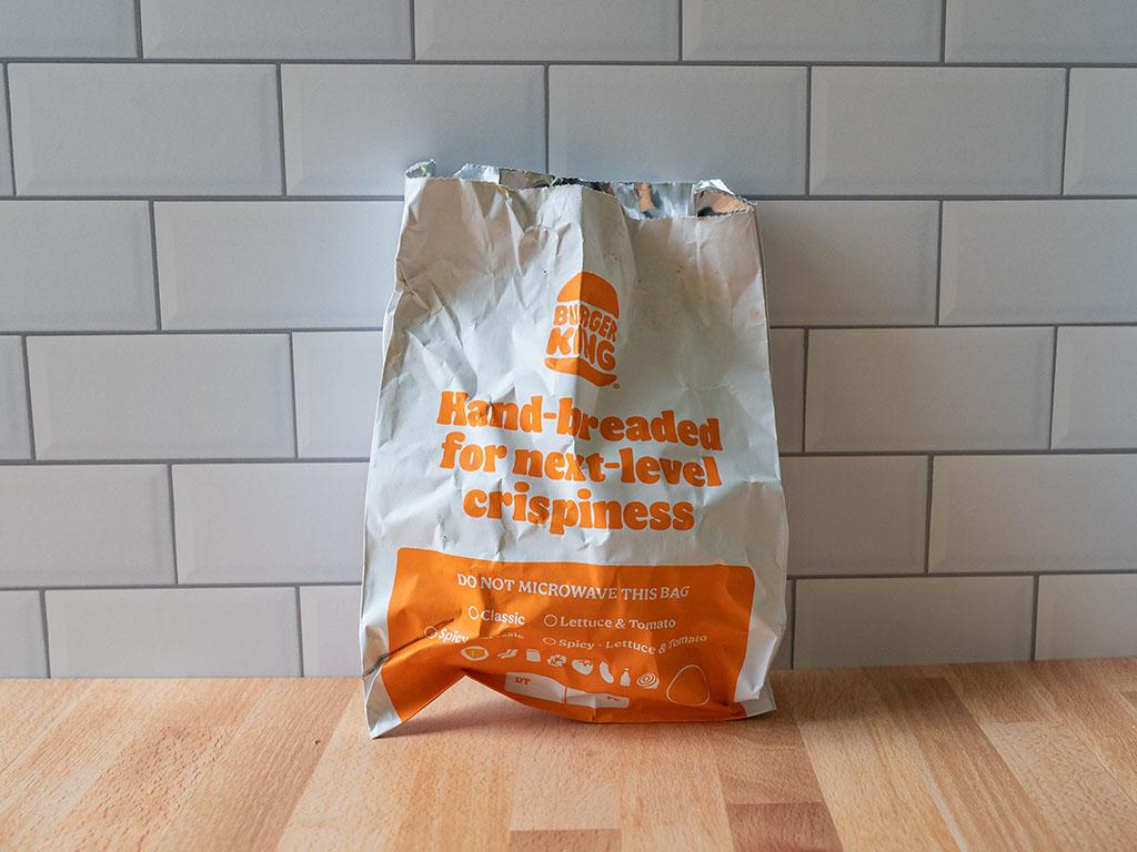 Spicy Hand-Breaded Chicken Sandwich foil wrapper