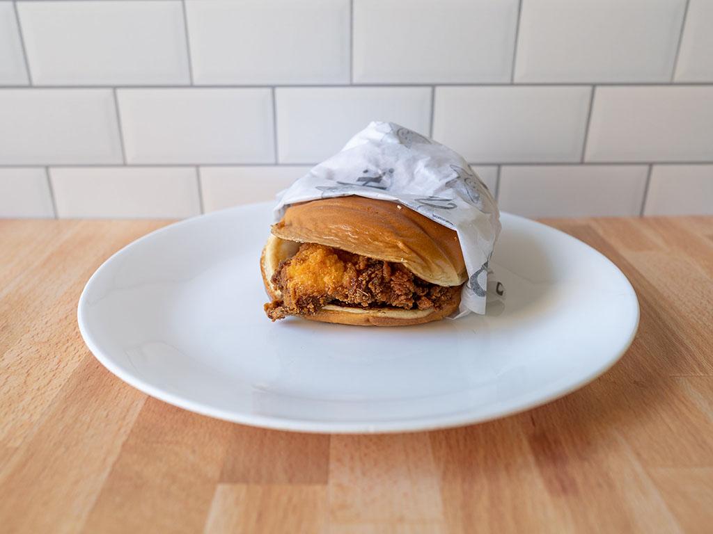 Carl's Jr. Hand-Breaded Chicken Sandwich in wrapper