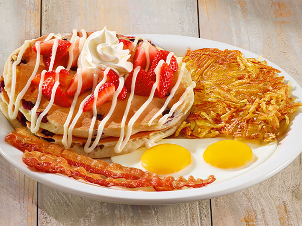 Dennys Red, White and Blue Pancake Breakfast