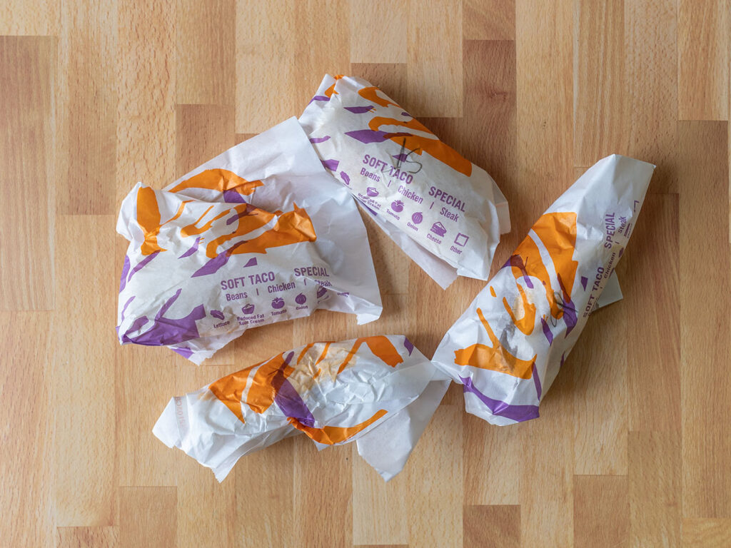 Taco Bells Crispy Chicken Sandwich Tacos wrapping