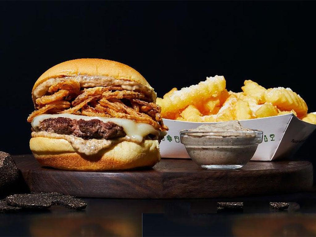 Shake Shack - Black Truffle Burger and Parmesan Garlic Fries with Black Truffle Sauce