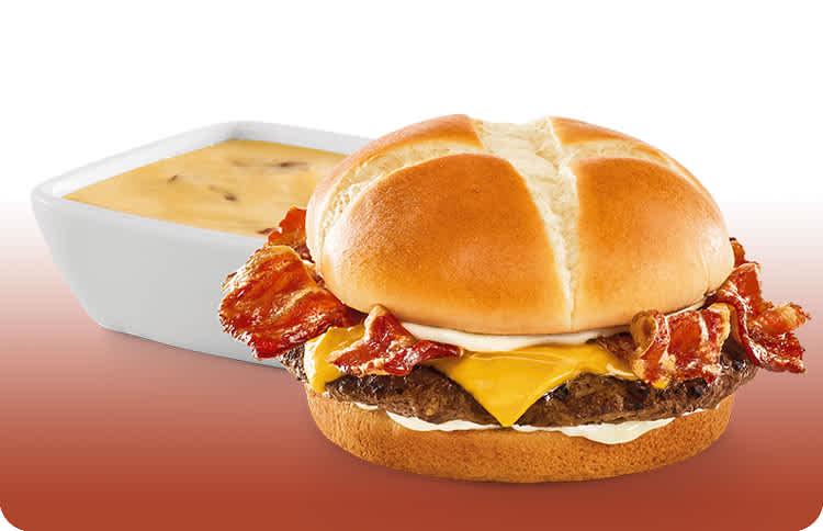 Cheesy Bacon Fondue Burger