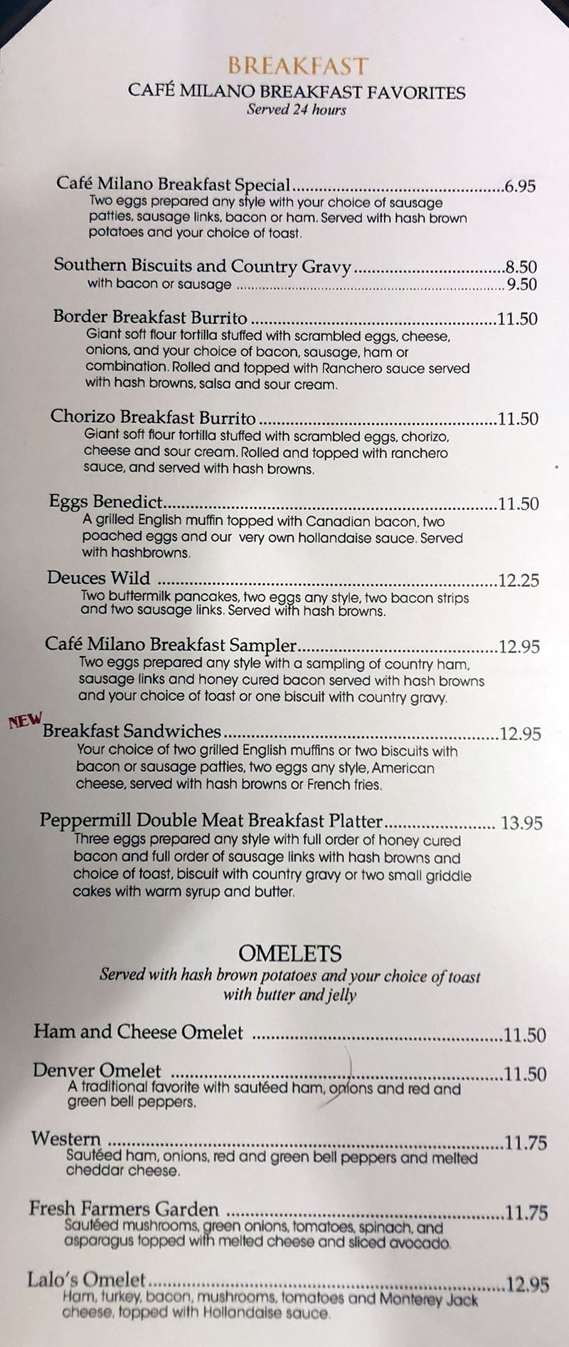 Cafe Milano Peppermill menu - breakfast