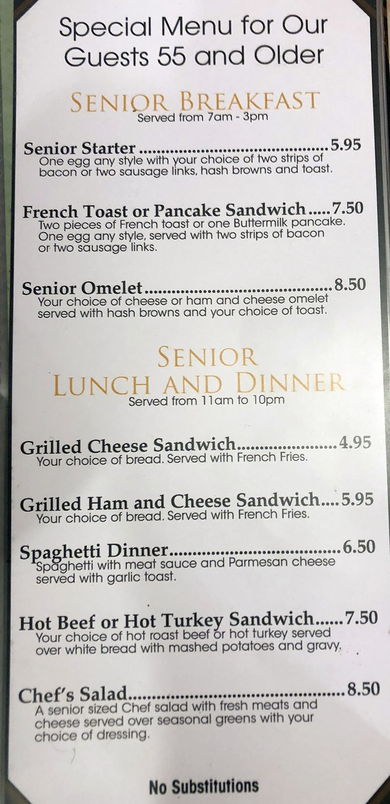 Cafe Milano Peppermill menu - seniors