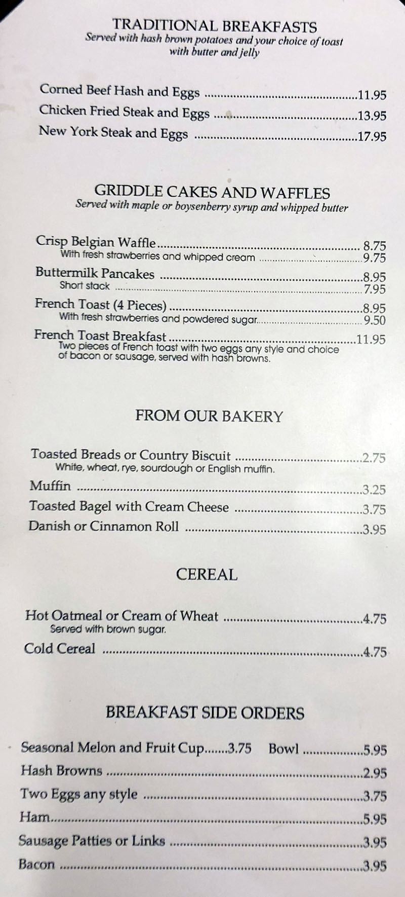 Cafe Milano Peppermill menu - traditional breakfast, pancakes, bakery, cereal, sides