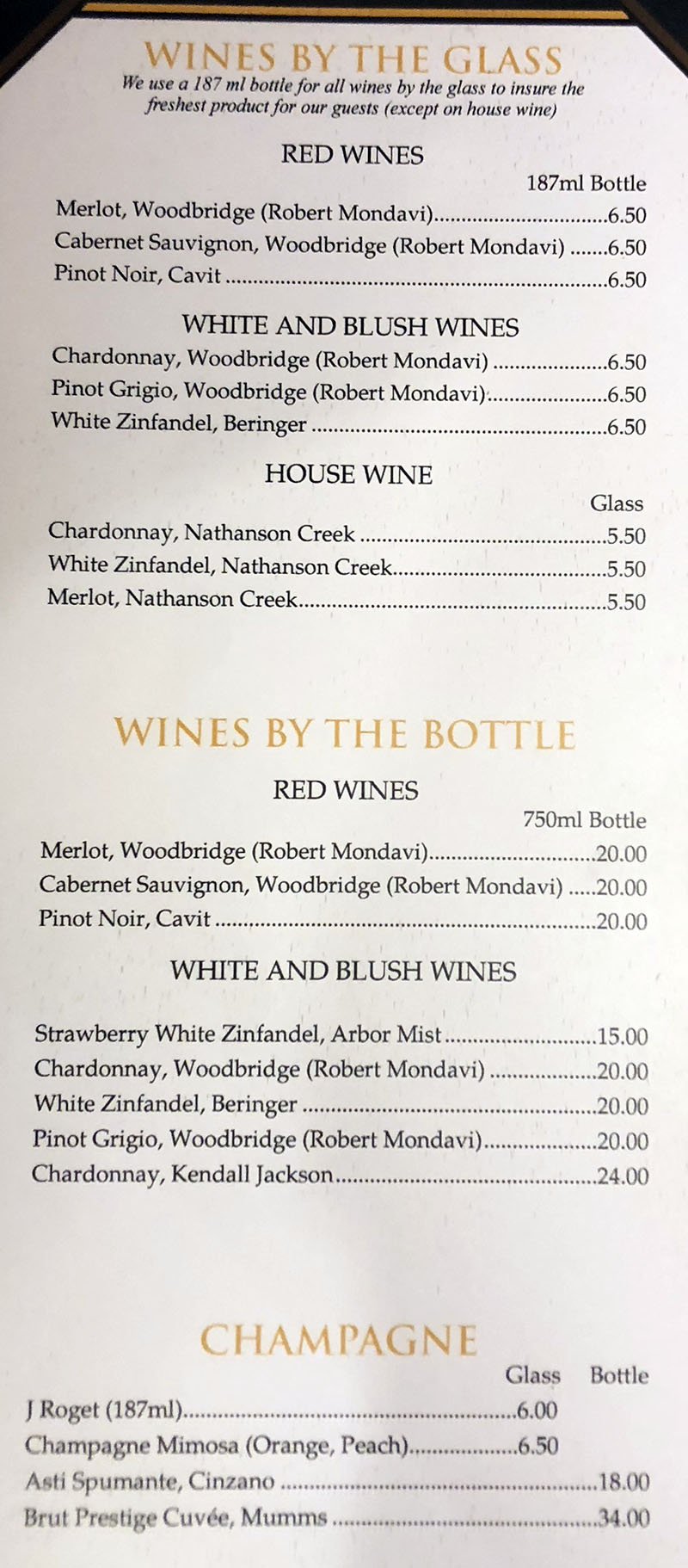 Cafe Milano Peppermill menu - wines