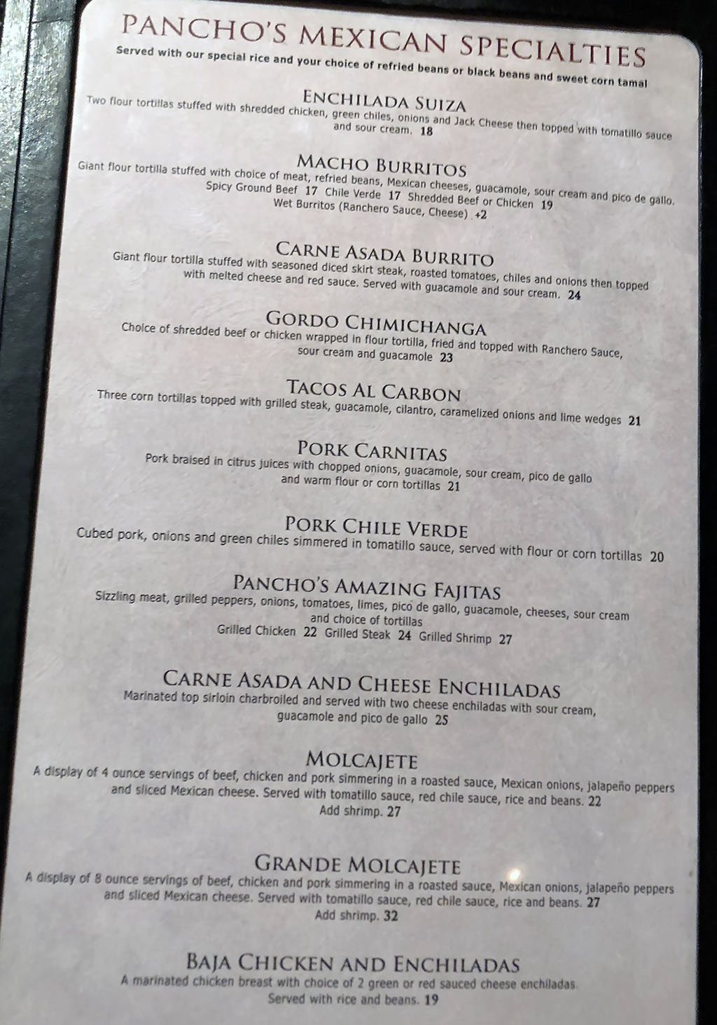 Pancho And Willies Wendover menu - Mexican specialties