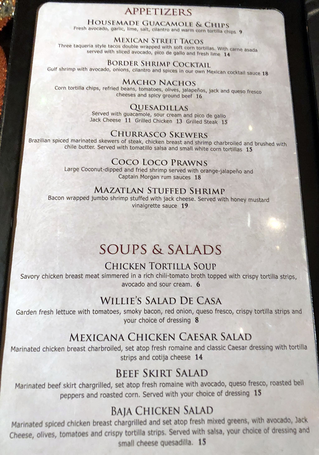 Pancho And Willies Wendover menu - appetizers, soups, salads