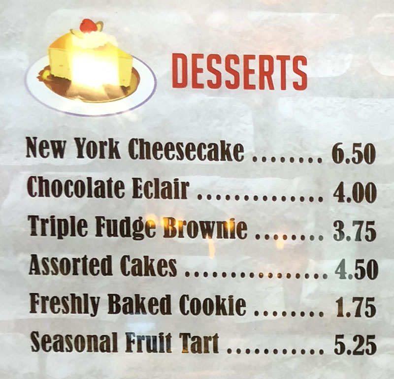 Second Street Deli menu Rainbow casino - desserts
