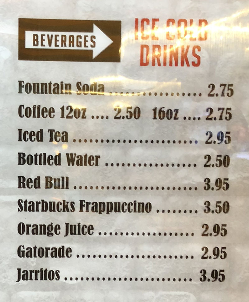 Second Street Deli menu Rainbow casino - beverages