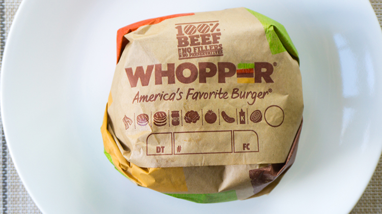 Burger King Whopper in wrapper